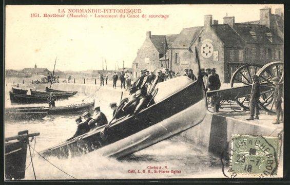 AK Barfleur, Lancement du Canot de sauvetage, Seenotrettungsboot wird zu Wasser gelassen