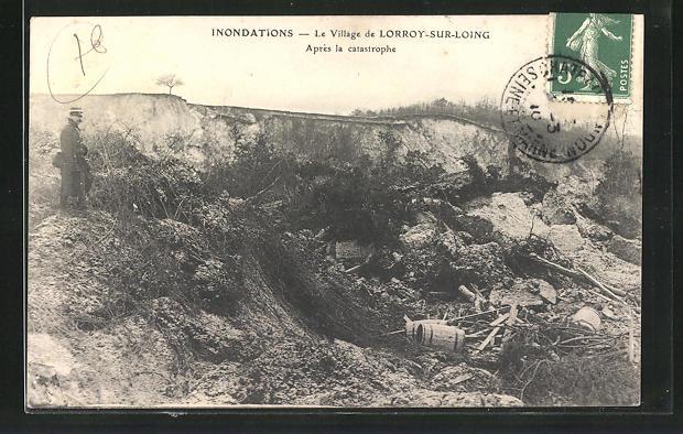 AK Lorroy-sur-Loing, Inondations, Apres la catastrophe