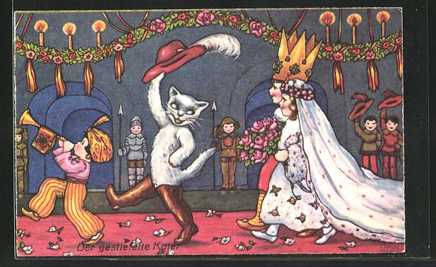Künstler-AK Margret Boriss: Der gestiefelte Kater und das Prinzenpaar