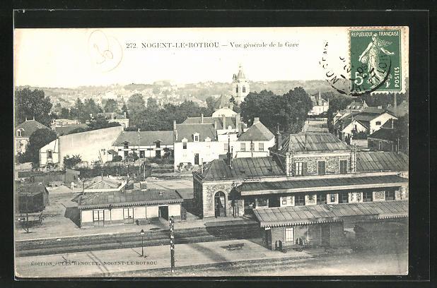AK Nogent-le-Rotrou, Vue gènèrale de la Gare