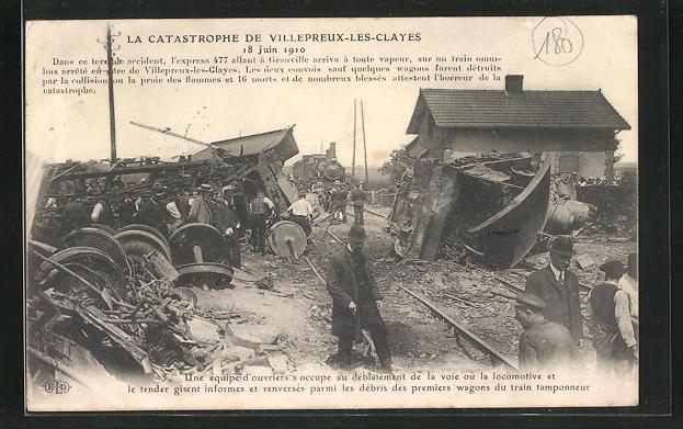 AK Villepreux-les-Clayes, Eisenbahnkatastrophe 18.Juni 1910