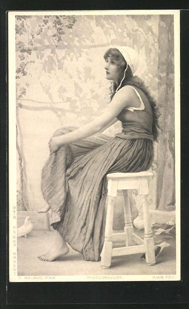 Künstler-AK Henry Ryland: Frau auf einem Hocker und Tauben