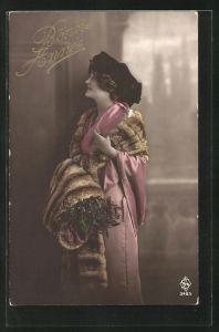 AK Bonne Annee, junge Schönheit mit Pelzstola und schönem Hut
