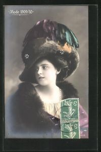 AK Mode 1909 /10, hübsche Dame mit Pelz und Hut