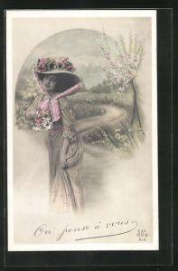 AK Hübsche Dame mit Hut im Frühling