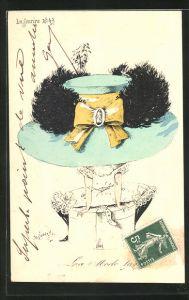 AK Frau mit blauem Hut mit gelber Schleife, schwarze Feder in Spitzenunterwäscheauf Hutschachtel sitzend