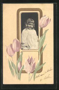Präge-AK Mädchenportrait mit Passepartoutrahmen im Jugendstil