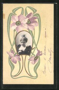 Präge-AK Frauenportrait im Passepartoutrahmen im Jugendstil
