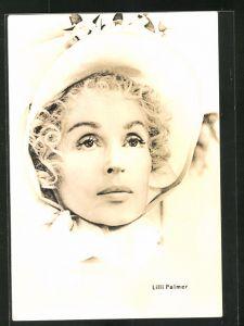 AK Schauspielerin Lilli Palmer mit hübscher Mütze