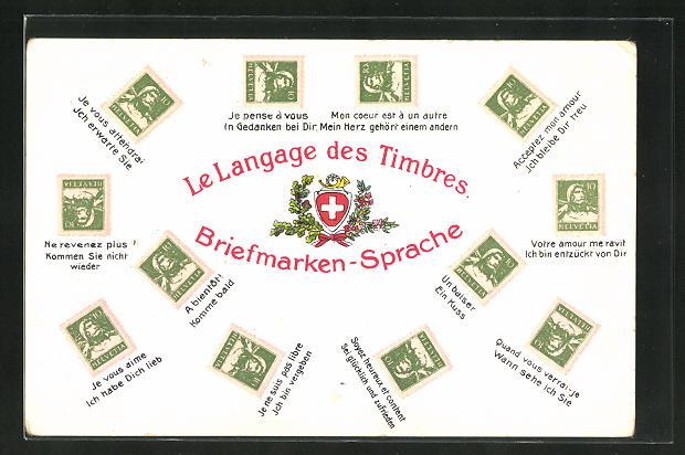 AK Le Langage des timbres, Briefmarkensprache, Wappen der Schweiz