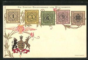 Lithographie Die ersten Briefmarken von Württemberg und Wappen