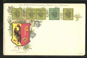 Lithographie Die ersten Briefmarken der Schweiz, Wappen von Genève / Genf