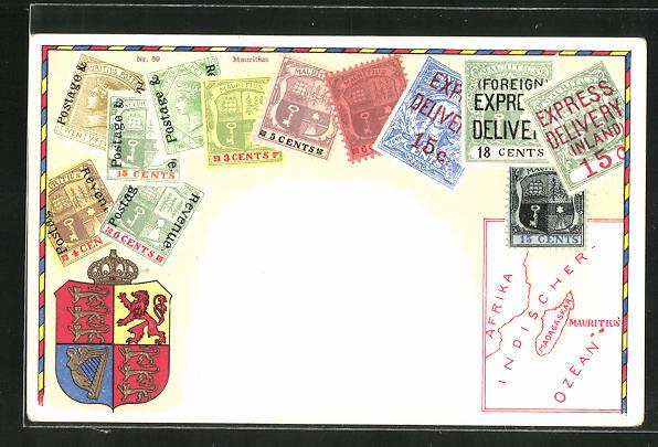 Präge-AK Briefmarken und Wappen von Mauritius 0