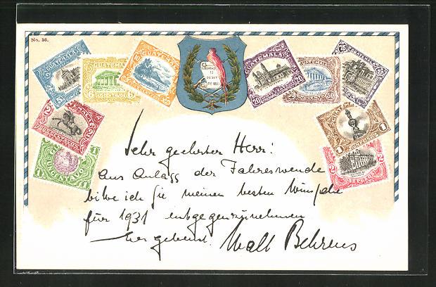 AK Briefmarken und Wappen von Guatemala 0