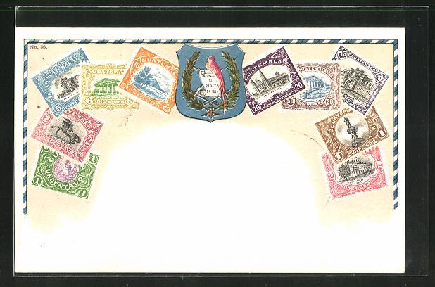 Präge-Lithographie Wappen und Briefmarken von Guatemale 0