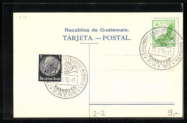 Präge-Lithographie Wappen und Briefmarken von Guatemale 1