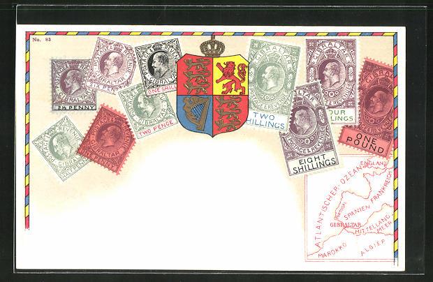 AK Briefmarken und Wappen von Gibraltar, Landkarte 0