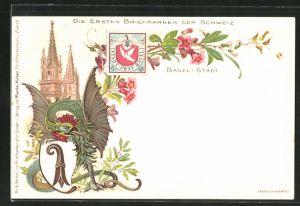 Lithographie Die ersten Briefmarken der Schweiz, Basel-Stadt, Wappen