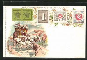 Künstler-Lithographie Koller: Die ersten Briefmarken der Schweiz, Die letzte Post vom St. Gotthard
