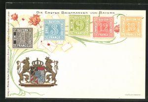 Lithographie Die ersten Briefmarken von Bayern, Wappen