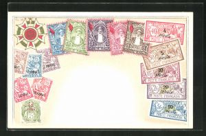 Präge-AK Briefmarken und Wappen von Zanzibar / Sansibar