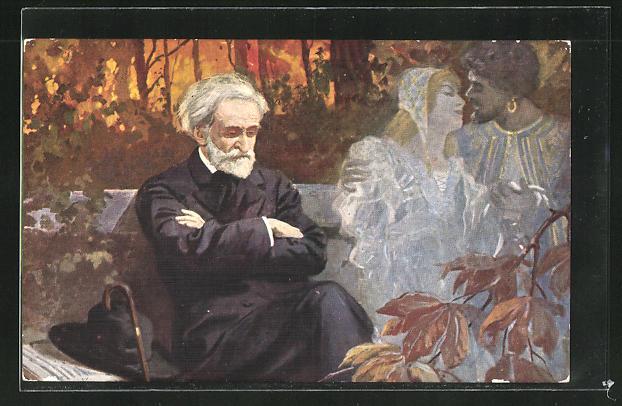 Künstler-AK G. Verdi composant Otello