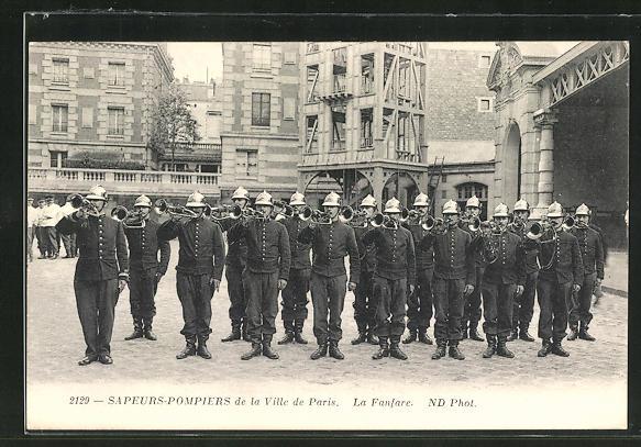 AK Paris, Sapeurs-Pompiers de la Ville, La Fanfare, Feuerwehr 0