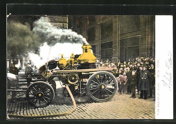 AK New York, NY, Fire Engine at Work, Feuerwehrwagen 0