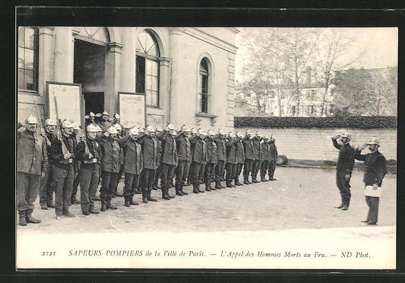 AK Paris, Sapeurs-Pompiers, L`Appel des Hommes Morts au Feu, Feuerwehr 0