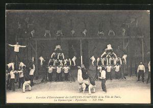 AK Paris, Sapeurs-Pompiers, La Gymnastique: Pyramides, Feuerwehr