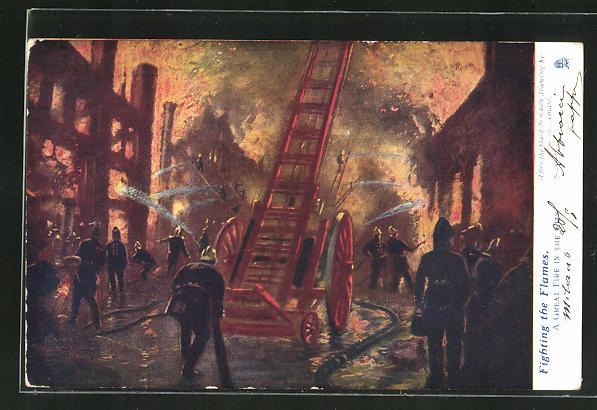 Künstler-AK Fighting the Flames, Feuerwehr löscht einen Brand 0