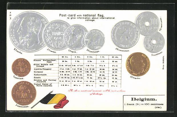 Präge-AK Münz-Geld und Nationalflagge von Belgien 0