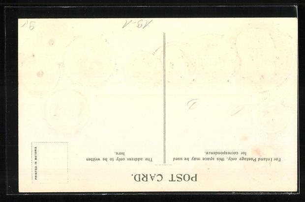 Präge-AK Münz-Geld und Nationalflagge von Belgien 1