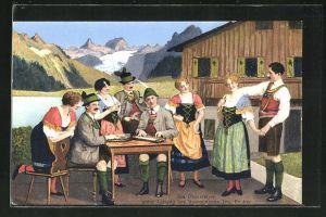 AK Trachtenkapelle Obersteirer, Gruppenbild vor Bergpanorama