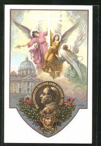 AK Papst Pius XI., Seitenportrait auf Medaille, Engel mit Kreuz und Vatikan, Wappen