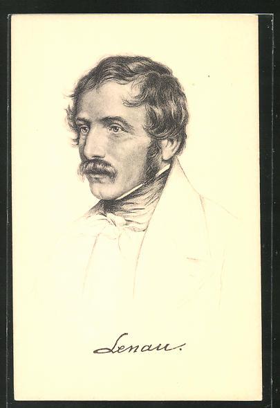 AK Dichter Nikolaus Lenau, Portrait mit Schnurrbart