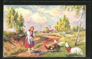Künstler-AK Ermenegildo Carlo Donadini: Magd füttert die Hühner