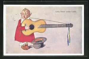 AK Kleinkind mit Gitarre, Leise flehen meine Lieder