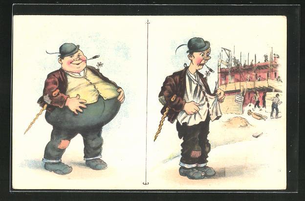 AK Mann mit dickem Bauch und dünner Mann