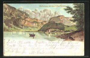 Lithographie Künzli Nr. 5020, Wallensee mit den 7 Churfürsten, Berg mit Gesicht / Berggesichter