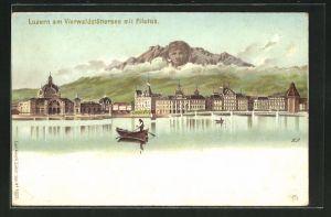 Lithographie Luzern, Künzli Nr. 5023: Vierwaldstättersee mit Pilatus, Berg mit Gesicht / Berggesichter