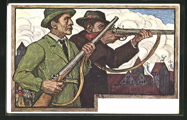 Künstler-AK Matthäus Schiestl: München, Männer beim XV. Bundesschiessen 1906