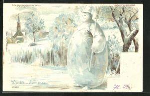 Lithographie Halt gegen das Licht Winter und Sommer, Schneemann