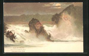 AK F. Killinger Nr. 109: Nacht am Rheinfall, Berg mit Gesicht / Berggesichter