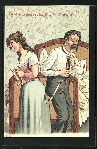 AK Frau im Korsett und Mann mit Hosenträgern