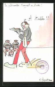 Künstler-AK Handgemalt: Kellner mit roter Nase serviert einen Teller