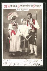 AK Schwyz, XVI. Kantonal-Schützenfest 1905, Familie in Trachtenkleidung