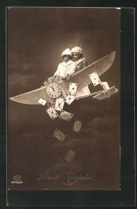 AK Kinder auf einem Flugzeug, Fotomontage