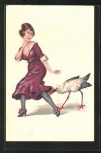 AK Storch zwickt junger Frau ins Bein