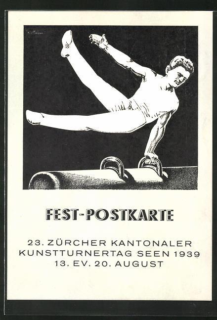 AK Winterthur-Seen, 23. Zürcher Kantonaler Kunstturnertag 1939, Turner am Pferd